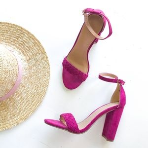 Charlotte Russe Shoes - Charlotte Russe Purple Strappy Chunky Heel Sandal